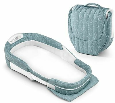 Baby Delight Snuggle Nest Surround XL Portable Infant Bed Sea Green Rings NEW