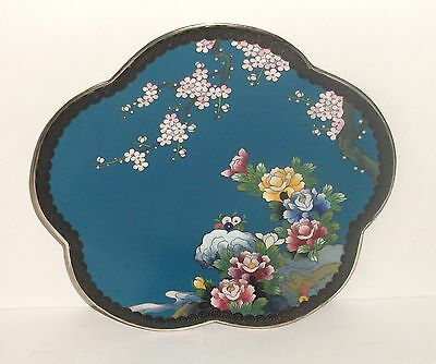 """Inaba Cloisonne Blue Enamel Floral Blossom Bird 7""""1/2 Scalloped Plate Signed"""