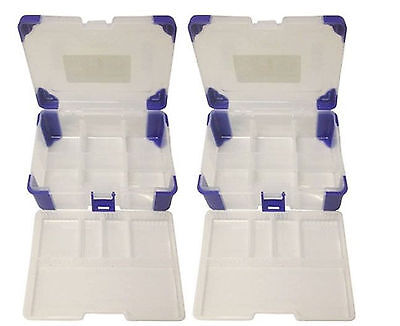 2 X Tool Box 11 Section Toolbox Storage Hobby Craft Case Clear Plastic Lid Boxes