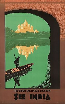 "Vintage Illustrated Travel Poster CANVAS PRINT See India Umbrella Palace 24""X18"""