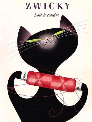 """Vintage Illustrated Poster CANVAS PRINT Zwicky Black cat 16""""X12"""""""