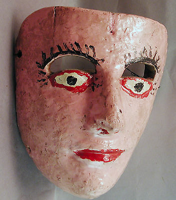 Original Antique Tribally Used Colonial Danced Mexican Wood Pink Mask Ethnix