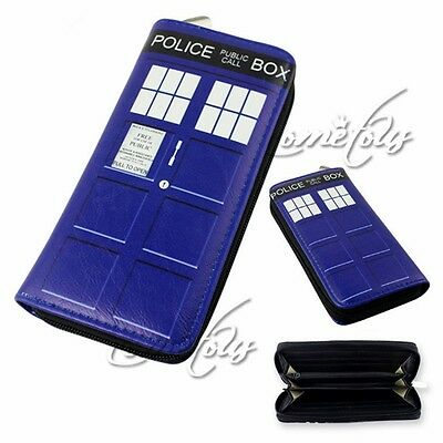 Unisex Doctor Who Tardis Buckle Slouch Bag Dr Who POLICE BOX Long Purse Wallet T