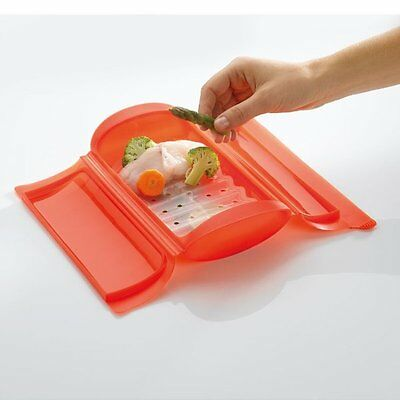 LEKUE STEAM CASE with TRAY 1-2 Person 650ml VEGETABLE STEAMER Silicone RED