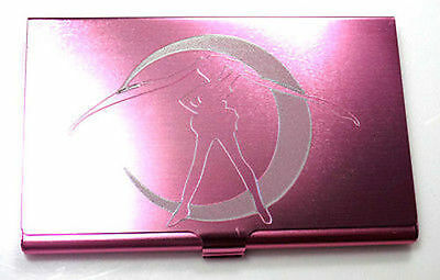 Pink Sailor Moon Anime Engraved Business Credit ID Wedding Card Case BUS-0397