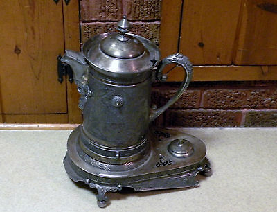 Antique / Vintage Meriden Quadruple Silver Plate Water Jug / Server w/ Stand
