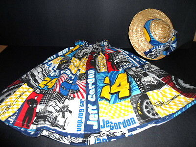 CEMENT GOOSE CLOTHES~NASCAR JEFF GORDON#14 Racing Outfit w/STRAW HAT~Blue,Yellow