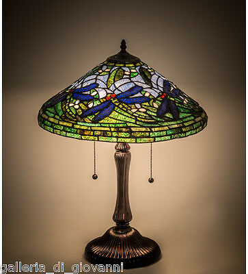 """Flying Dragonfly Lamp Stained Glass Tiffany Style Nature 24""""H Blue & Green"""
