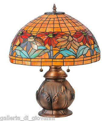 "Stained Glass Lamp Flowers Tiffany Style Light Floral 19.5""H"