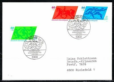Germany 1980 FDC cover Mi 1046-1048 Sc 574-576 Soccer,Equestrian,Skiing.Sport