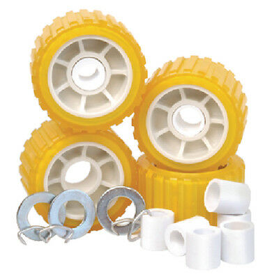 """Tie Down 86144 Boat Trailer Amber/Yellow Poly Ribbed Wobble Roller Kit 5"""""""