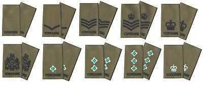 Pair Yorkshire Regiment on Olive Green Rank Slides for MTP Multi Terrain Pattern