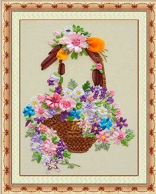 Ribbon Embroidery Kit Flowers Baskets 40x45cm RE1015
