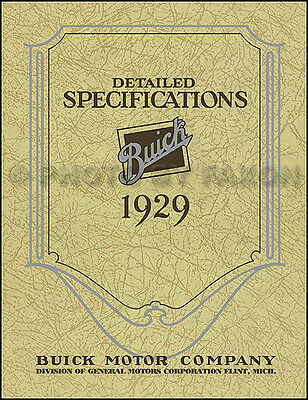 1929 Buick Detailed Specifications Manual Service Specs Book 29