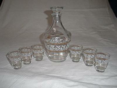 Retro Vintage Bohemia Painted Glass Liqueur Decanter & 6 Glasses Czechoslovakia