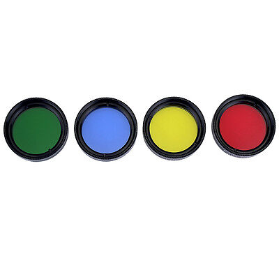 "New 1.25"" Set of 4 Color Eyepiece Color Filter Metal&Glass for Telescope+Track"