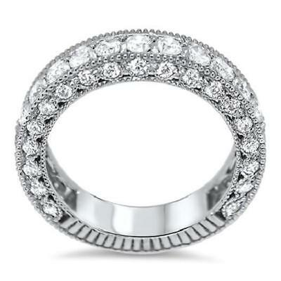 G/SI1 Huge 2.50 Ct Natural Diamond 14Kt Solid Gold Eternity Engagement Ring Band