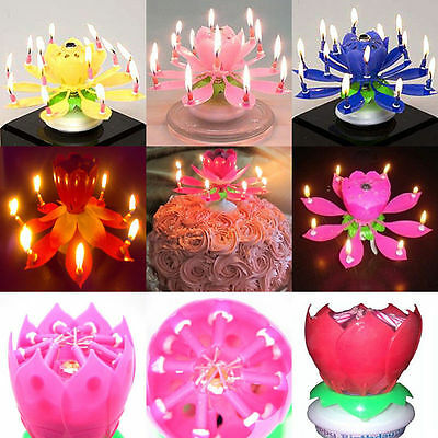 Romantic Musical Lotus Flower Rotating Happy Birthday Party Gift Candle Lights