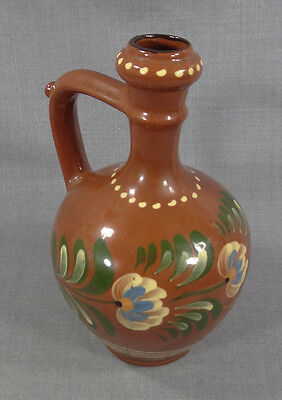 Antique Ottoman Islamic Glazed Redware Pottery Pitcher Ewer Jug Painted Flowers