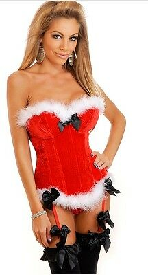 Size 6-16 Womens Sexy Red Santa XMAS Costume Boned Lace Up Corset Basques+Thong