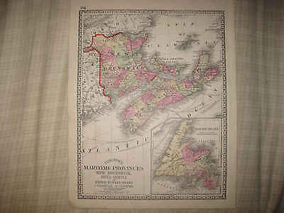 Antique Maritime Provinces New Brunswick Nova Scotia Newfoundland Canada Map Nr