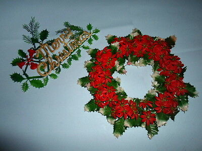 """2~Vintage """"MERRY CHRISTMAS""""Glitter and HOLLY/POINSETTIA 14"""" WREATH~Plastic~1950s"""