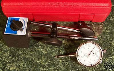 """0-1"""" DIAL INDICATOR GAUGE with MAGNETIC BASE and CASE + FREE 22pc POINT SET new"""