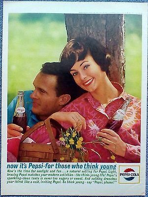 1963 Pepsi Cola Couple Under Tree Picnic Basket Flowers Sunlight Fun ad