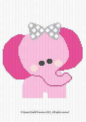 Crochet Patterns - PINK ELEPHANT W/BOW Graph/Chart BABY GIRL Afghan Pattern