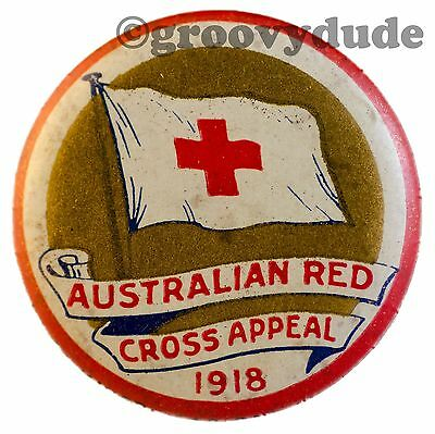 Original 1918 Vintage Australian Red Cross Appeal Badge Pin Pinback Button