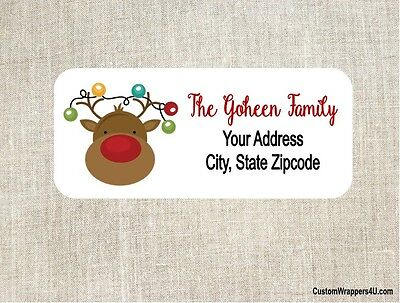 Christmas Holiday Reindeer Rudolph Return Address Labels Personalized Custom