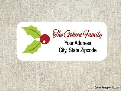 Christmas Holiday Holly Return Address Labels Personalized Custom