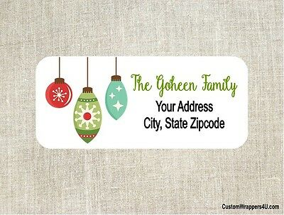 Christmas Holiday Ornaments Return Address Labels Personalized Custom