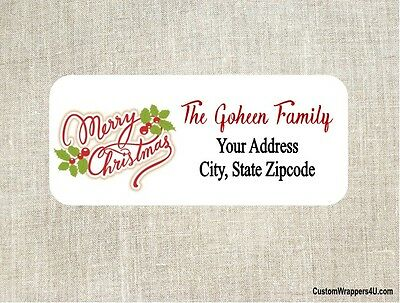 christmas holiday merry christmas return address labels personalized