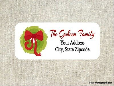 Christmas Holiday Wreath Return Address Labels Personalized