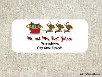 Christmas Holiday Reindeer Sleigh Return Address Labels Personalized