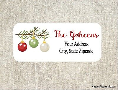 Christmas Holiday Ornaments Tree Branch Return Address Labels Personalized