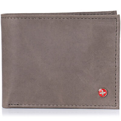 Alpine Swiss Mens Leather Wallet Multi Card Flip ID High Capacity Compact Bifold