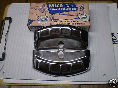 1955-1956 Ford Chrome Exhaust Deflectors In Box Wilco