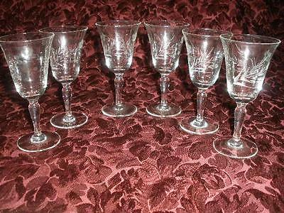 Stunning Etched Bohemia Art Glass Sherry Glasses X 6