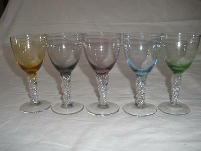 Fabulous Bohemia Colored Art Glass Sherry Glasses X 5 Czechoslovakia