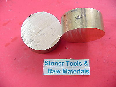 """2 pieces 2"""" C360 BRASS ROUND ROD 1"""" long Solid 2.00"""" OD H02 Lathe Bar Stock"""