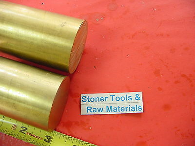 """2 pieces 2"""" C360 BRASS ROUND ROD 3"""" long Solid 2.00"""" OD H02 Lathe Bar Stock"""