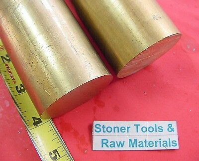 """2 pieces 2"""" C360 BRASS ROUND ROD 4"""" long Solid 2.00"""" OD H02 Lathe Bar Stock"""