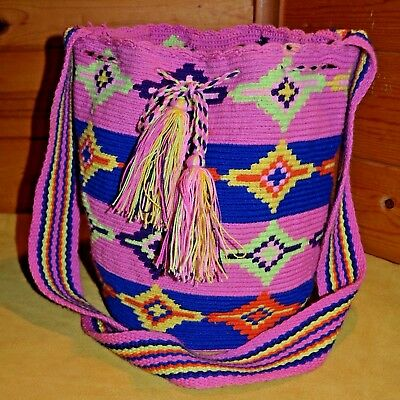 Tribally Hand Woven Wayuu Colorful Mochila Textile Bag Colombia, South America