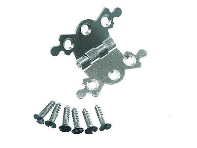 Sale of 8 -Butterfly Ornate Decorative Jewel Box Hinge 40Mm Bzp AND Screws