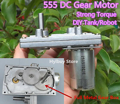 High Torque 555 DC 12V-24V Geared Motor Metal Gear Slow Speed Tank Robot DIY