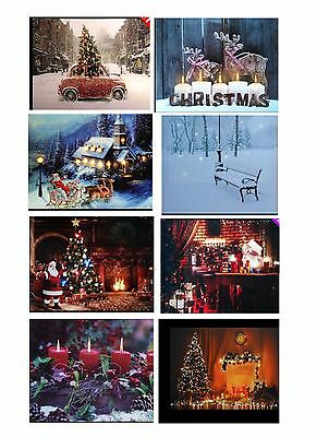 CHRISTMAS 40 x 30cm LED LIGHT UP WALL HANGING CANVAS PICTURE XMAS DECORATION NEW