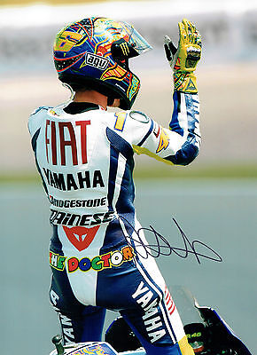 VALENTINO ROSSI Autograph SIGNED HUGH 16x12 Yamaha Celebration Photo AFTAL COA