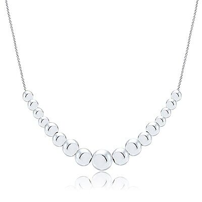 925 Sterling Silver Graduated Polished Beaded Necklace